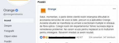 Probleme in reteaua Orange